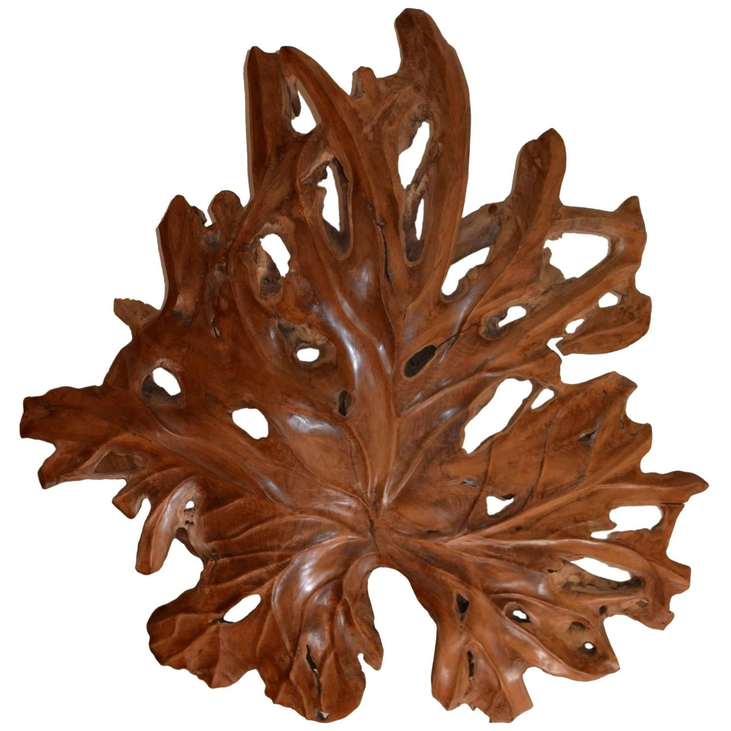 Andrianna shamaris giant organic teak wood leaf sculpture teak