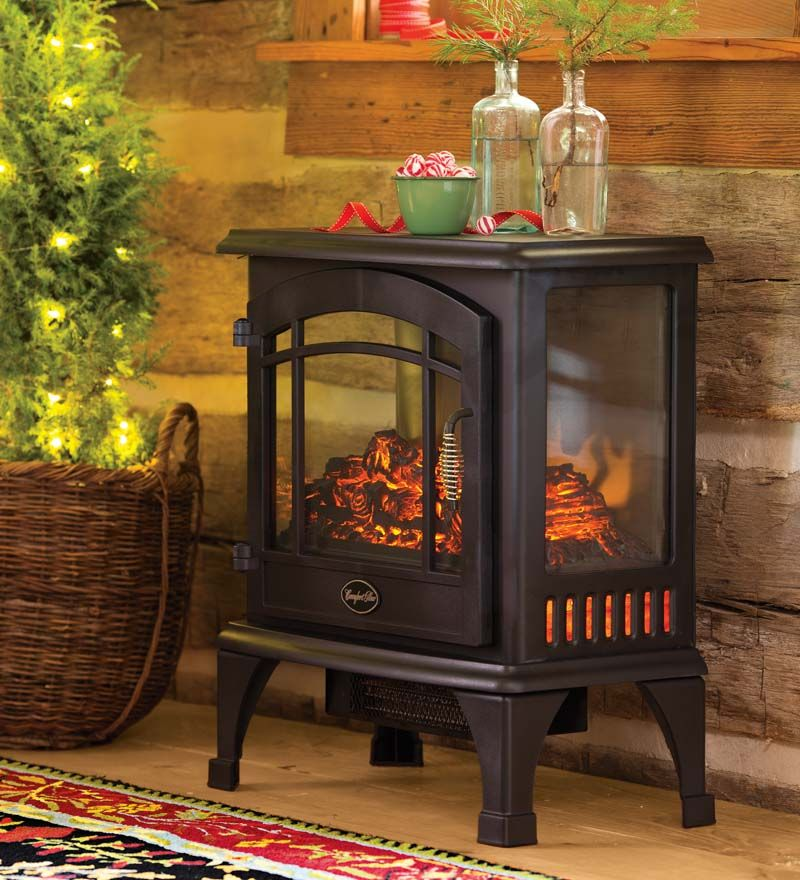 "Now this is cozy! Electric Panoramic Quartz Infrared Stove Heater goes anywhere and plugs in for instant warmth. Three clear sides make the ""fire"" visible from any angle. Amazing and instant heat output warms up to 1"