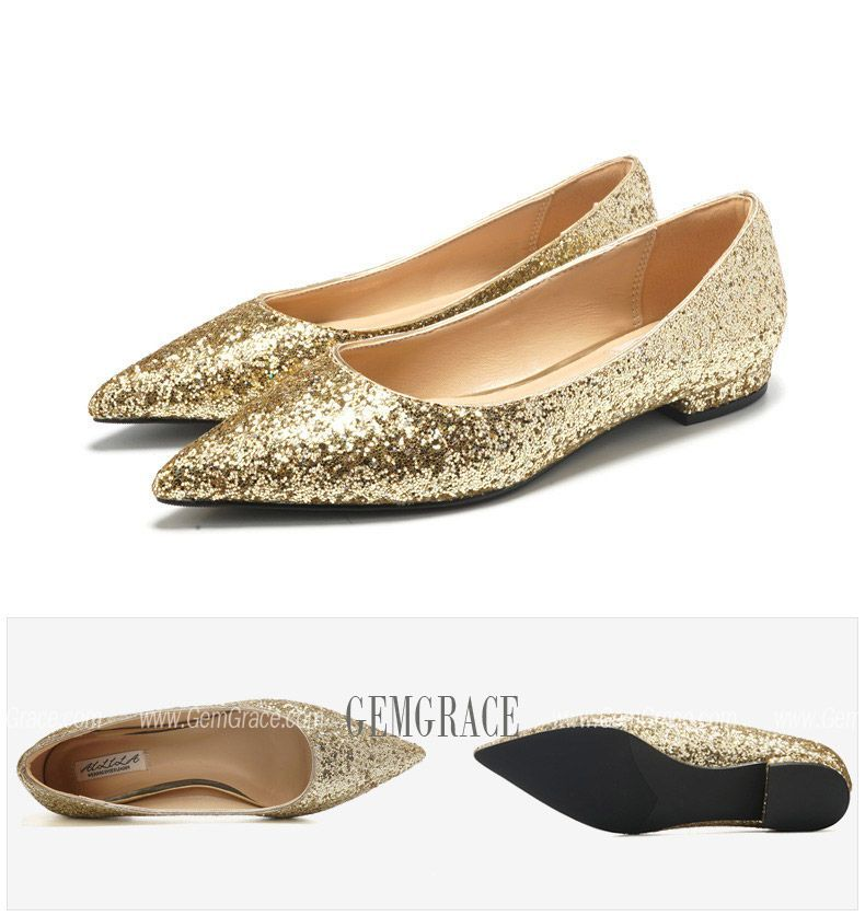 5499 glitter gold prom flat shoes pointed toe for girls