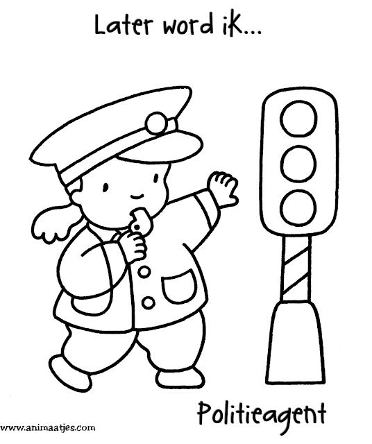 Kleurplaten Politieagent.Animaatje Kleurplaten Beroepen Boys