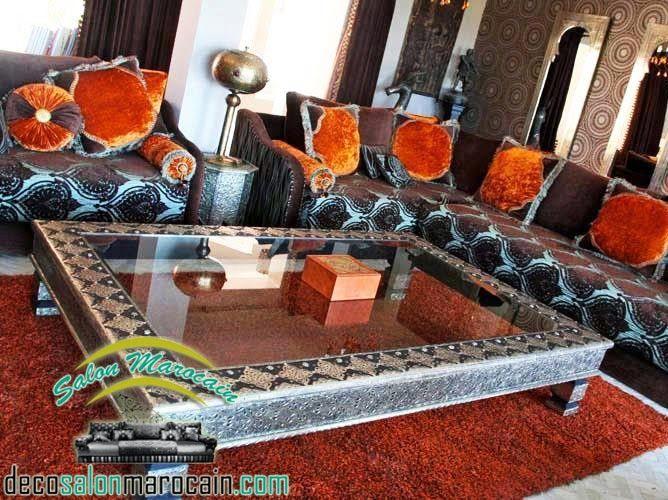 salon marocain nouvelle cration 2014 salon marocain moderne 2014 - Salon Marocain Moderne Orange Marron