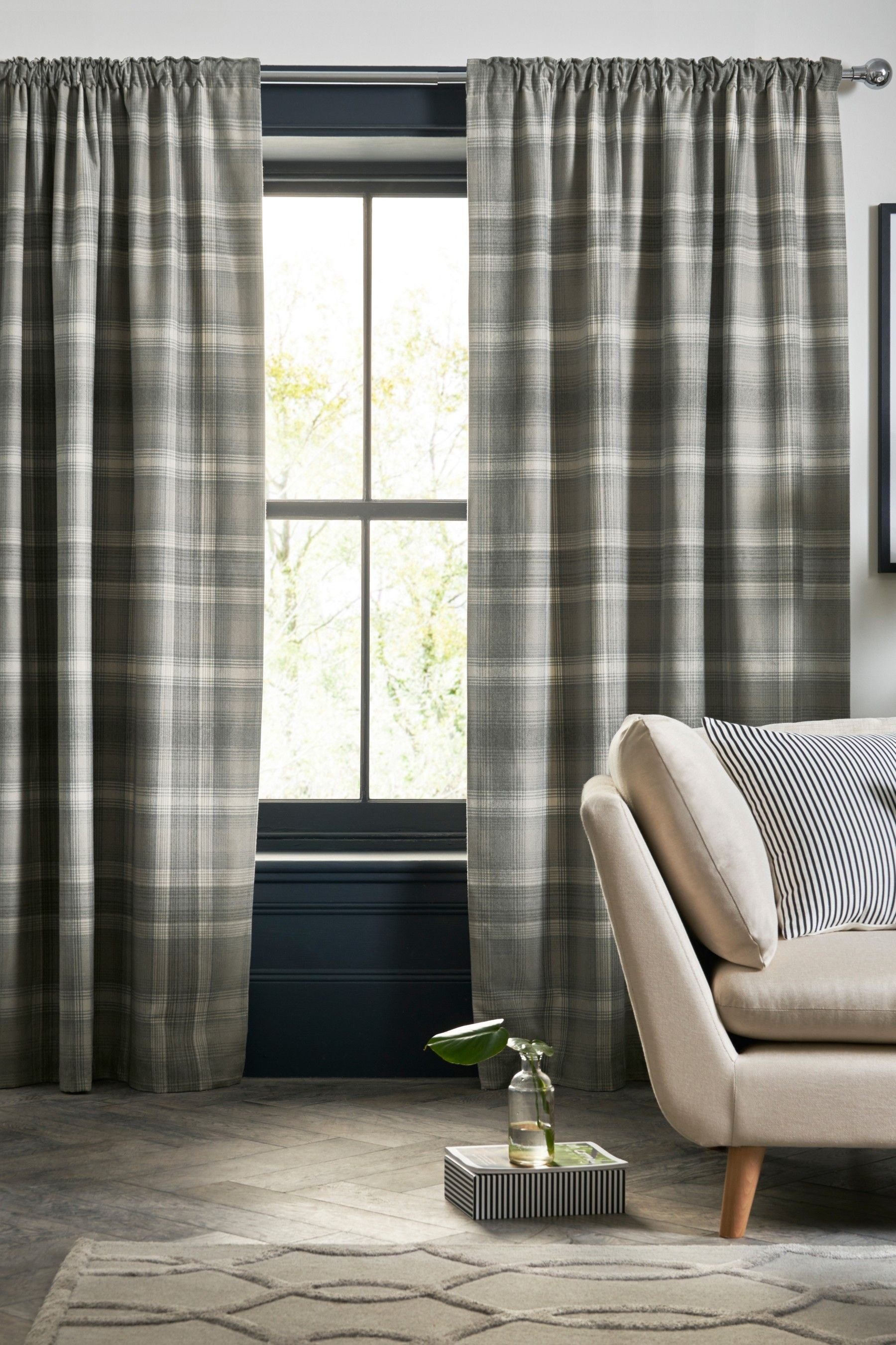 Next Cosy Check Eyelet Lined Curtains Grey Curtains Lined Curtains Thermal Curtains