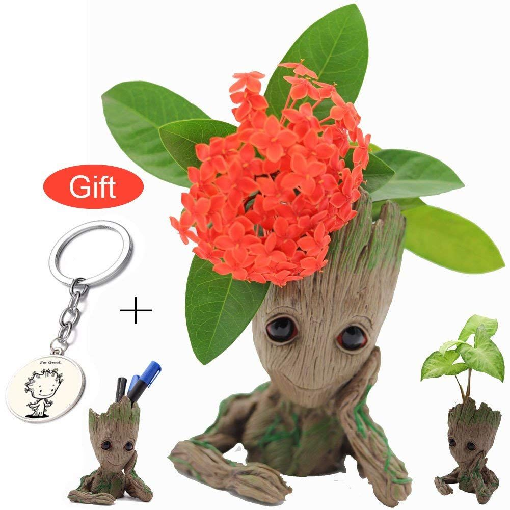 Amazon Com Aotuman Baby Groot Flower Pot With Groot Keychain
