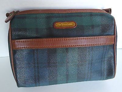 Polo Ralph Lauren Black Watch Tartan Plaid Cosmetic Toiletry Bag Leather  Vintage in Clothing f28ca63423692