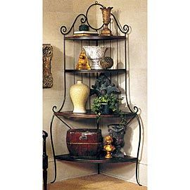 Corner Bakers Rack With Storage Beauteous Charleston Forge Monaco Large Corner Bakers Rack  Gates ~ Wrought Decorating Design