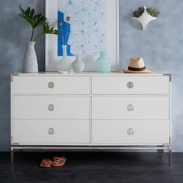Malone Campaign 6 Drawer Dresser White Lacquer White Lacquer Dresser Dresser Drawers Furniture