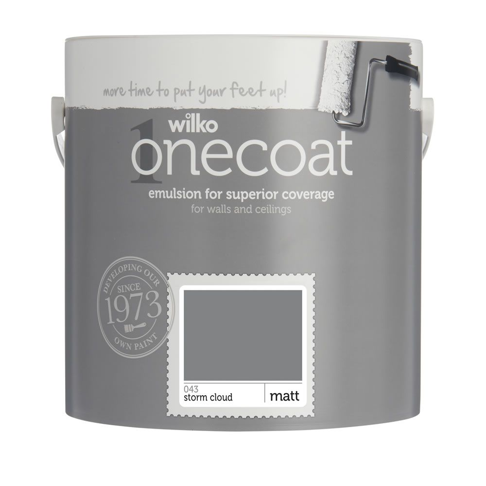 wilko one coat matt emulsion paint storm cloud 2 5l new. Black Bedroom Furniture Sets. Home Design Ideas
