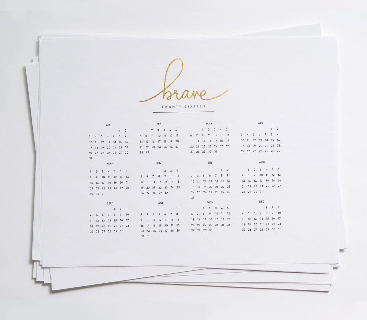 2016 year at a glance calendars printables pinterest