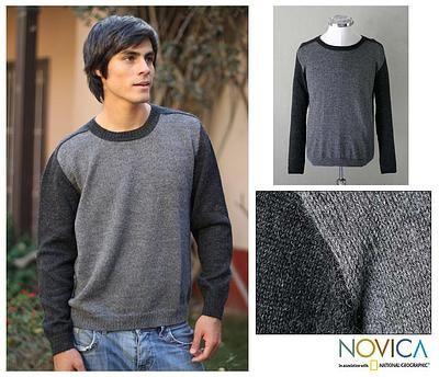 Silver hipster mens sweater