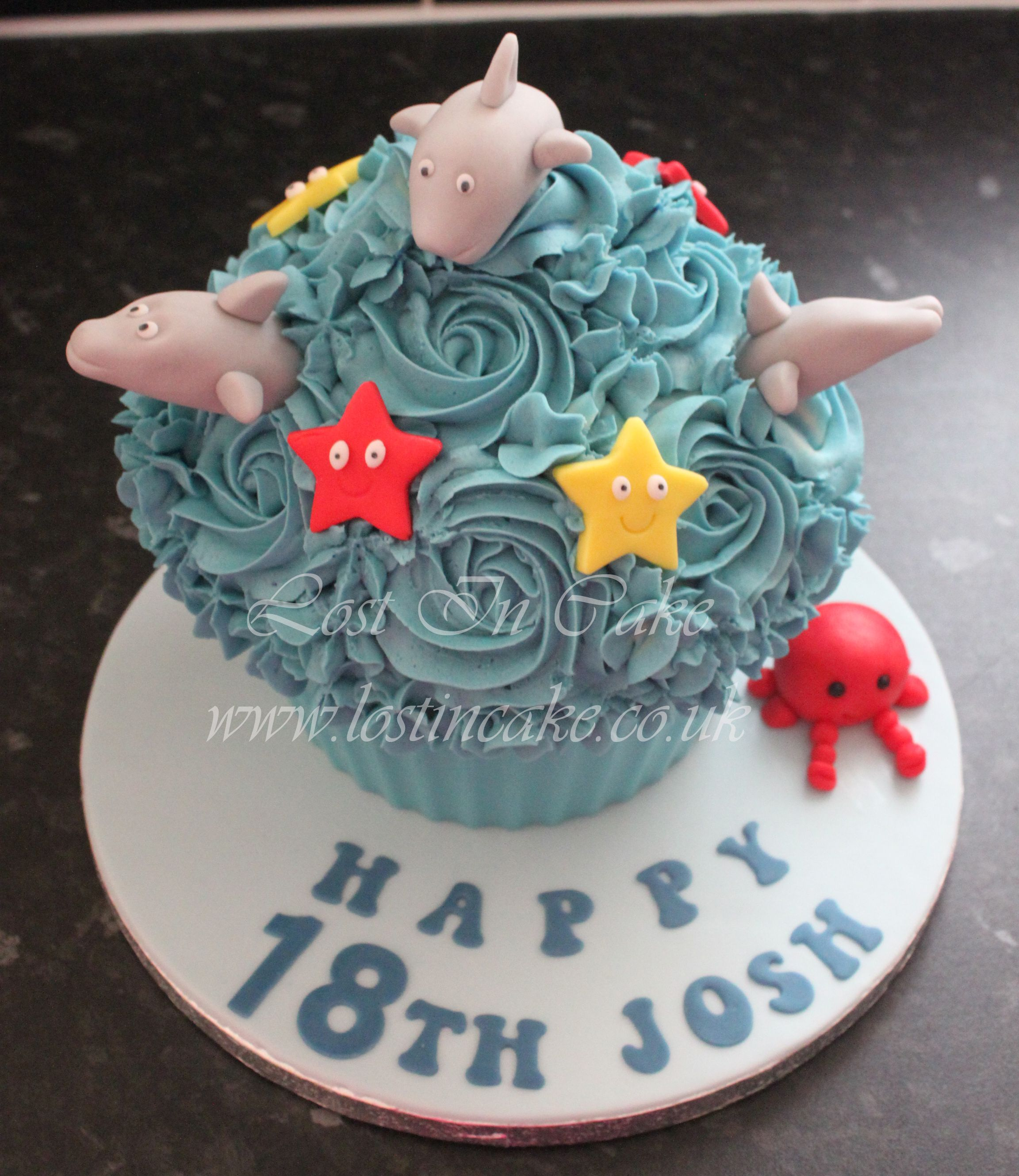 Dolphins and under the sea themed giant cupcake | cakes | Pinterest ...