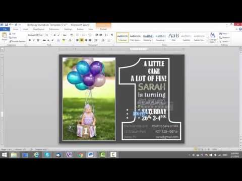 1) 1st Birthday Invitation Template for MS Word - YouTube ardoise