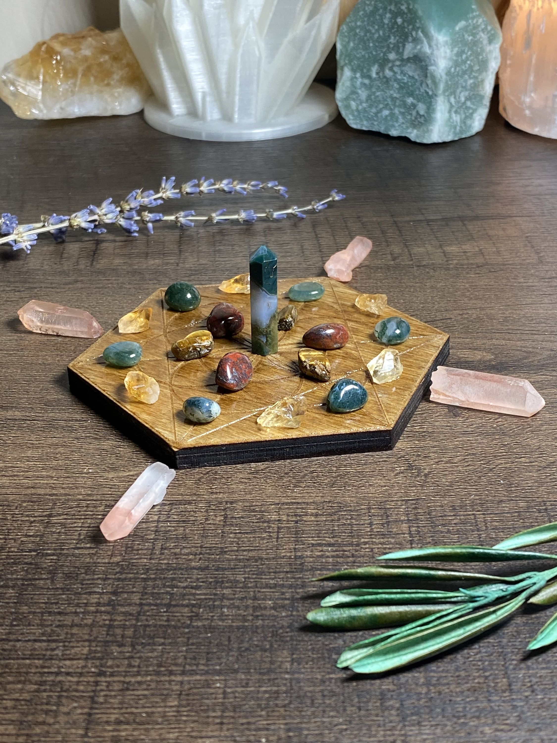 """Reiki Charged 4"""" Merkabah Activation Crystal Grid 24 Piece ..."""