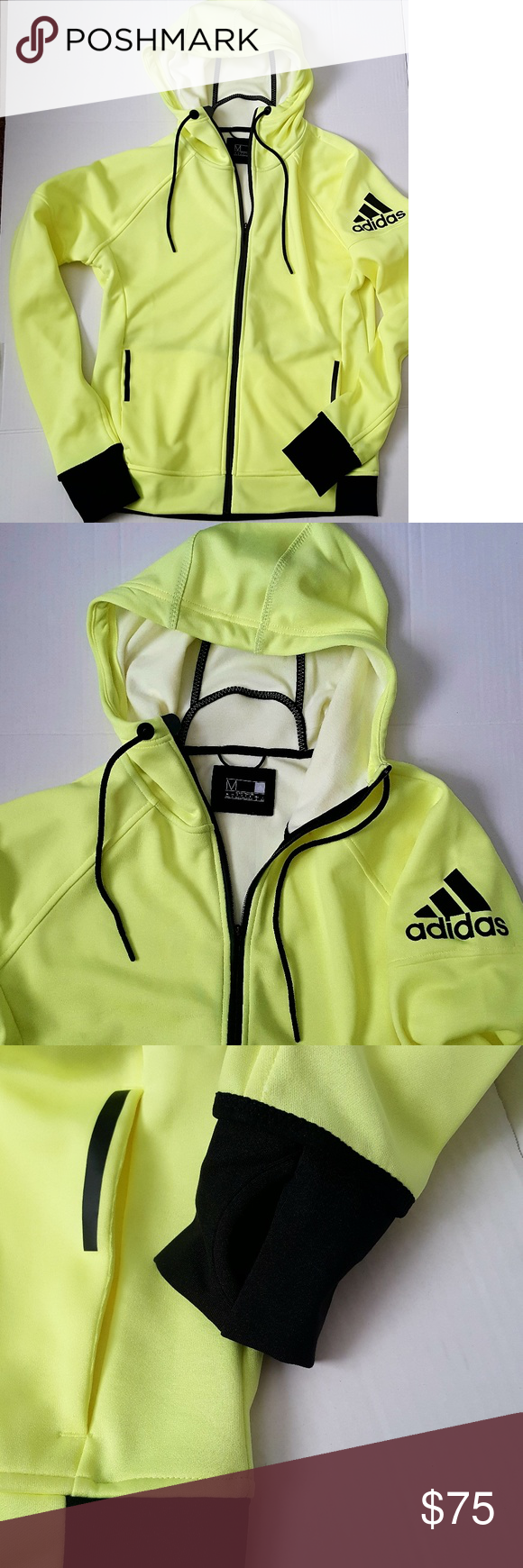 1e1640c97ab4 ADIDAS New Men s Neon Yellow Track Jacket Sz M - Adidas zip up neon yellow  hooded track jacket. - Great contrast colors of neon yellow and black.