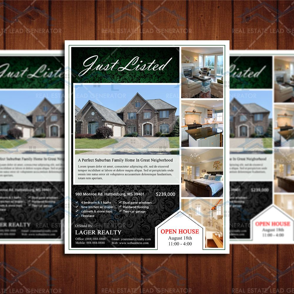 just listed real estate marketing open house flyer template realty marketing template by creativeetsydesigns on etsy