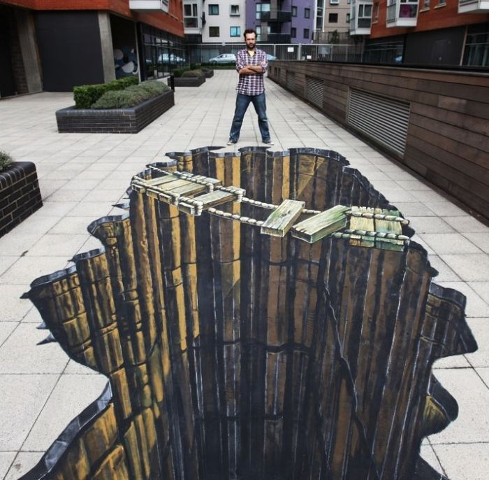 Street artist Eduardo Relero's 3D illusions on pavement