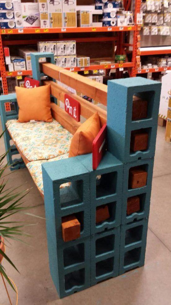 trabajos con bancos hechos de bloques de cemento y madera para tu jardn u manos