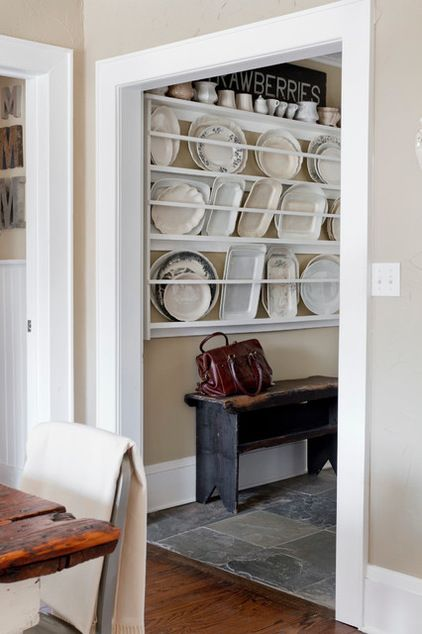Love This Idea For Storing Large Platters And Plates Rather Than In Some High Hard To Reach Cupboard Plates On Wall Shabby Chic Hallway Built In Cupboards