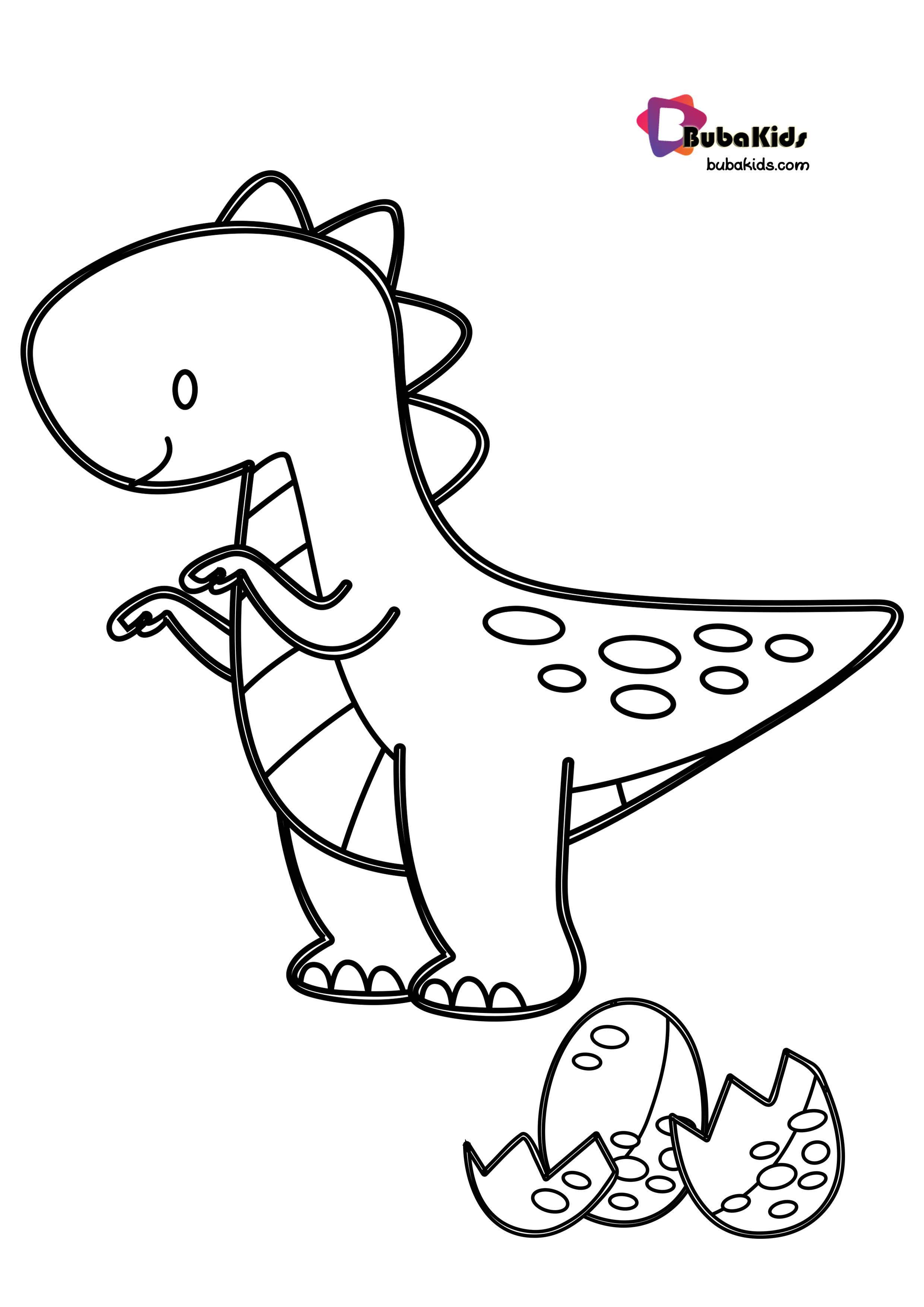 Baby TRex Coloring Page With Egg dinosaurscoloringpage