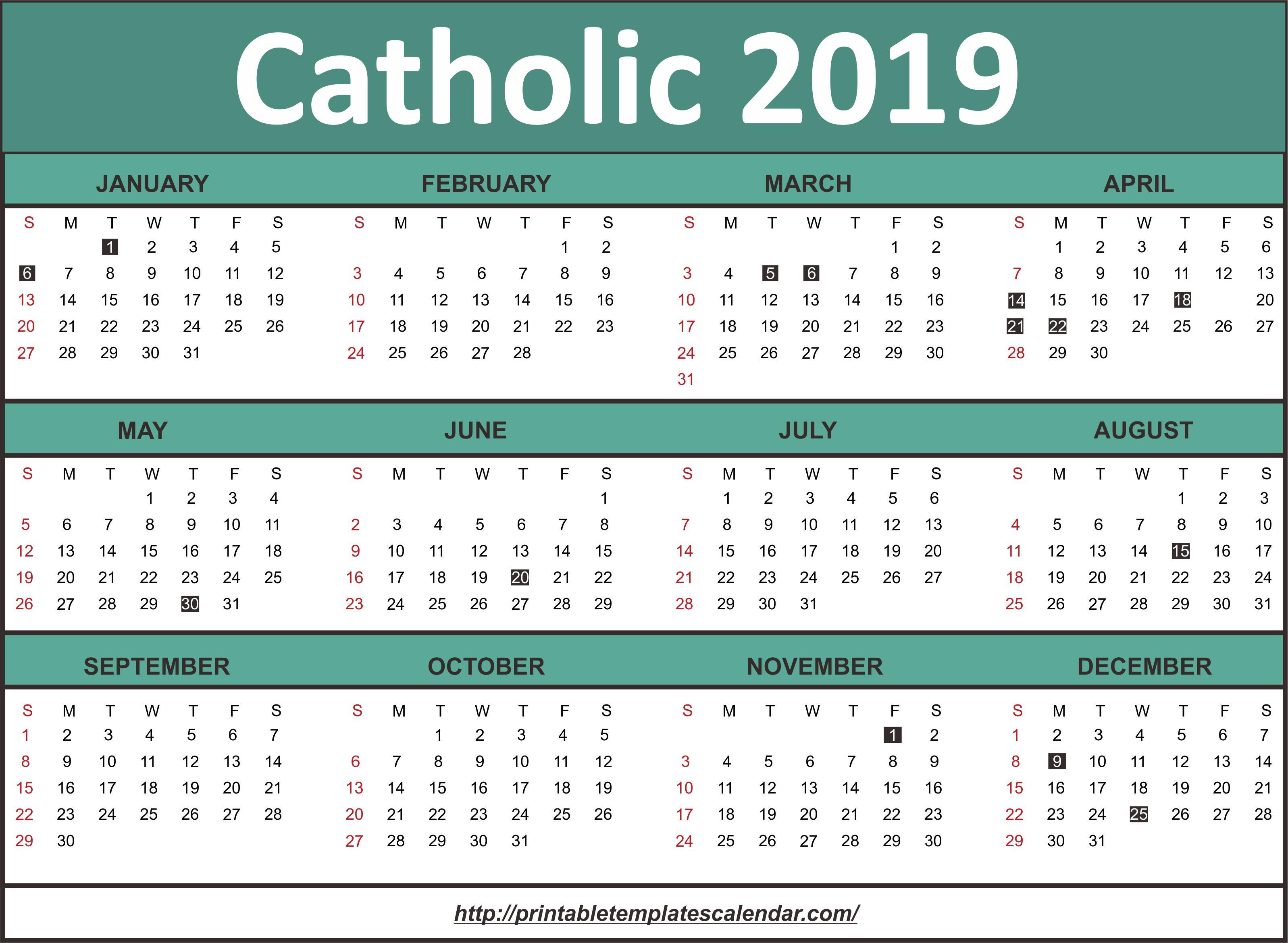 Roman Calendar 2019 Roman Catholic Calendar 2019 | Calendar 2019