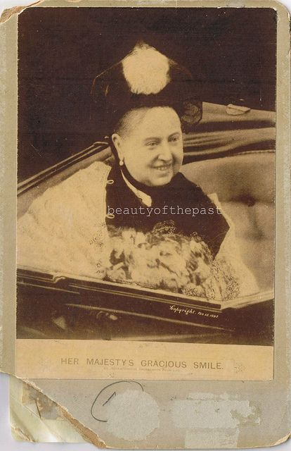 Queen Victoria 1898. This is the only picture I've ever seen of her smiling.