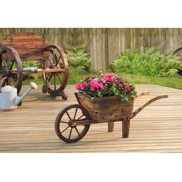 Sunjoy Baker Solid Wood Flower Cart