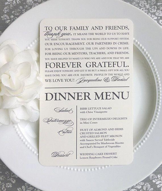 Modern Wedding Ceremony Songs: Printable Wedding Thank You Menu Modern By