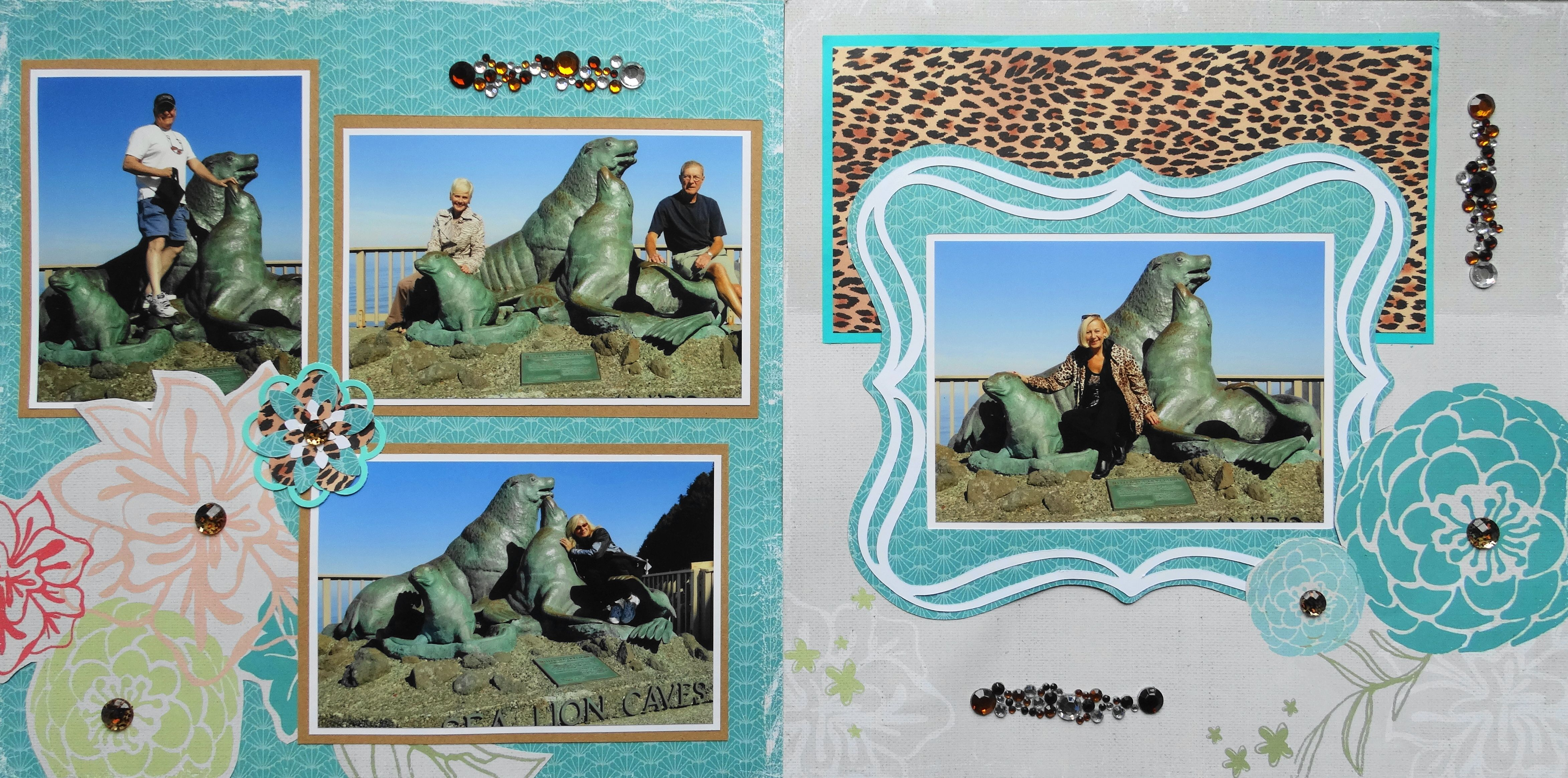 How to scrapbook a road trip - Scrapbook Page Sea Lion Caves Oregon 2 Page Road Trip Layout With Flowers