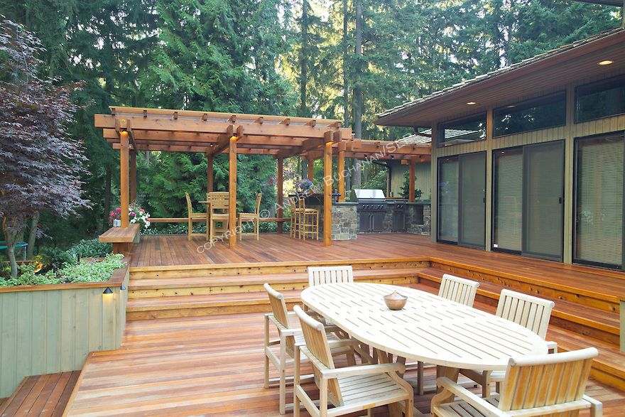A 1700 Square Foot 2 Level Deck Outdoor Kitchen And Firepit Complete The Outside Of This Ranch Style Home Tuc Decks Backyard Backyard Decor Backyard Getaway