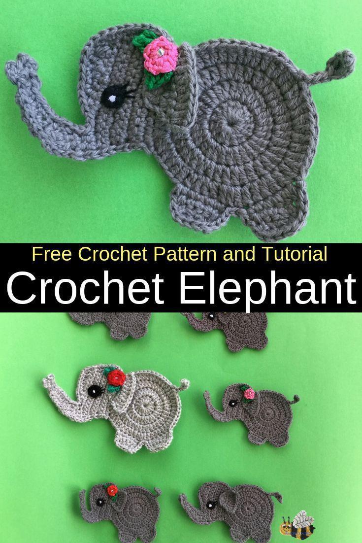 Free Crochet Pattern - Crochet Elephant #crochetedanimals Get this free crochet pattern of a crochet elephant. This and many other crochet animals are available on my website, Kerri's Crochet. #FreeCrochetPatterns #CrochetElephant #CrochetAnimals