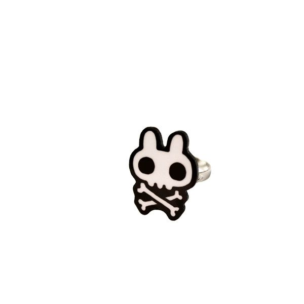 Bunny Crossbone ring (€4,45) ❤ liked on Polyvore featuring jewelry, rings, accessories, bunny ring, bunny jewelry, bunny rabbit jewelry and laser-cut jewelry