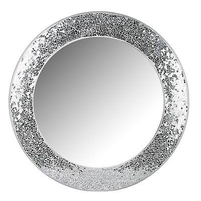 round crackle wall mirror handmade broken glass mosaic silver frame 40 x40cm new mosaics. Black Bedroom Furniture Sets. Home Design Ideas