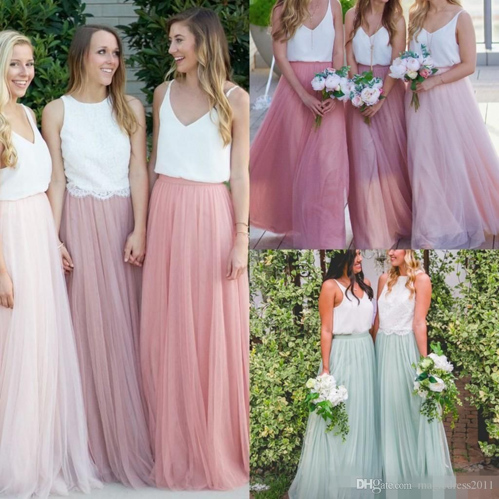 Modest Long Bridesmaid Dresses Without Blouse Tulle Skirts Tiered ...