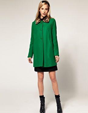 Emerald Leopard Collar coat