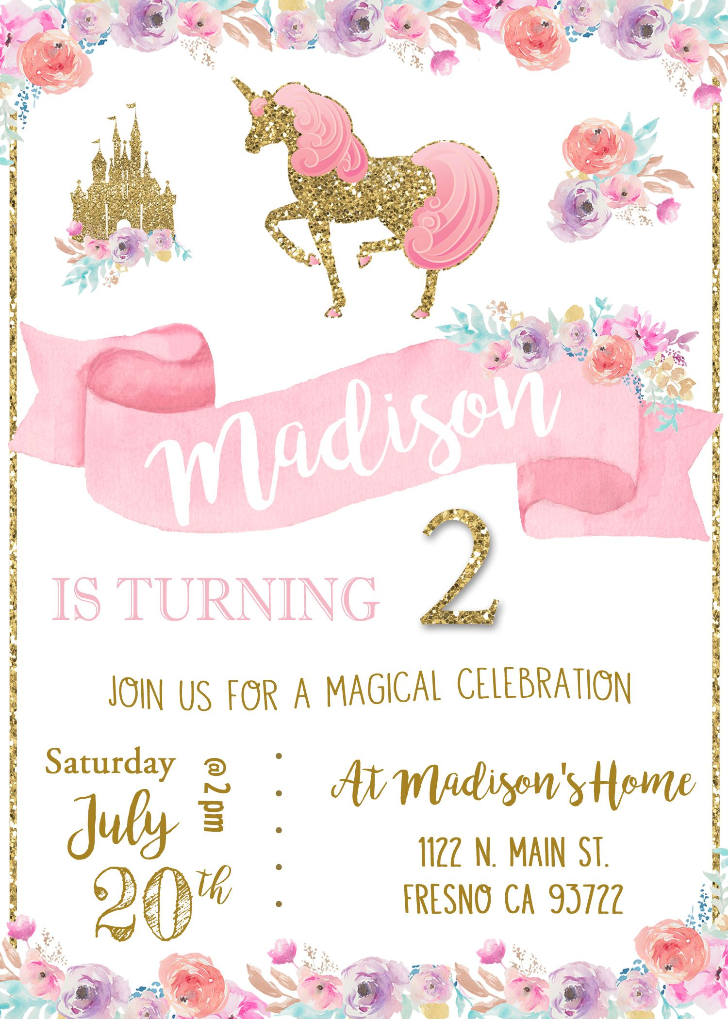 Unicorn Birthday Party Invitation Invite Magical Princess Pink and ...