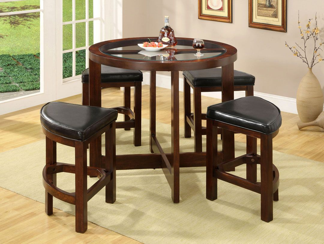 Bar Table With Tuck Under Stools Stylish 5 Piece Round Glass