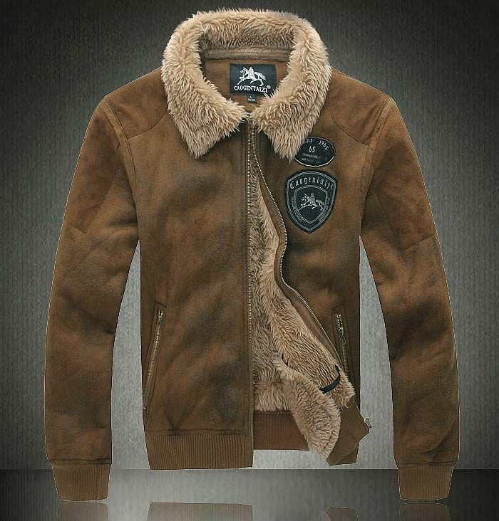 New Men's Shearling SHEEPSKIN Suede Leather Fur zipprd polite Coat ...