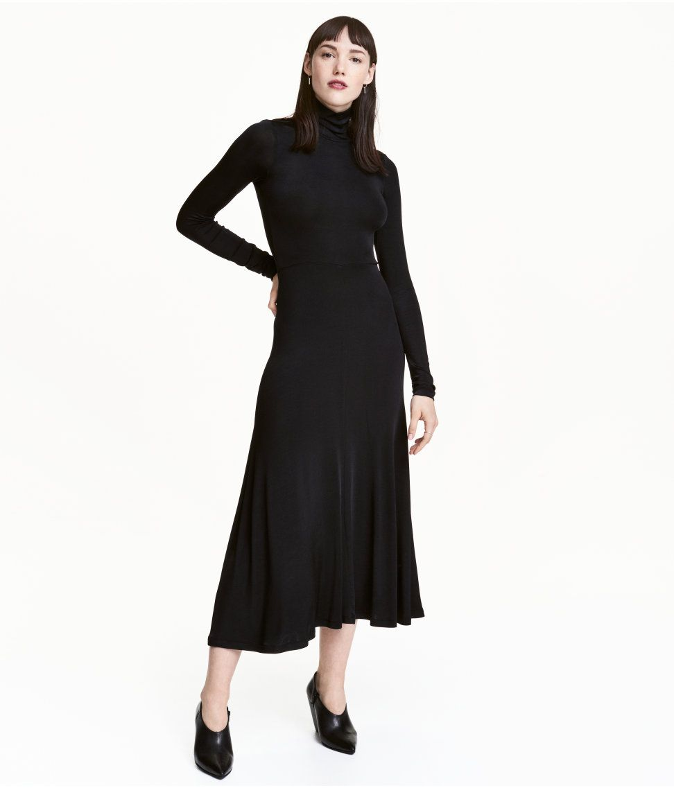 Check this out long turtleneck dress in airy jersey with a slight