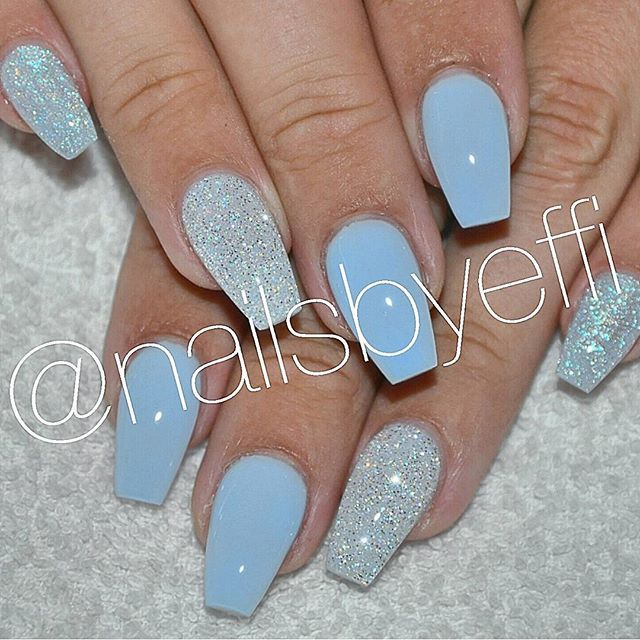 Pin By Brittany Ward On Nails Blue Glitter Nails Blue Acrylic Nails Glitter Baby Blue Nails