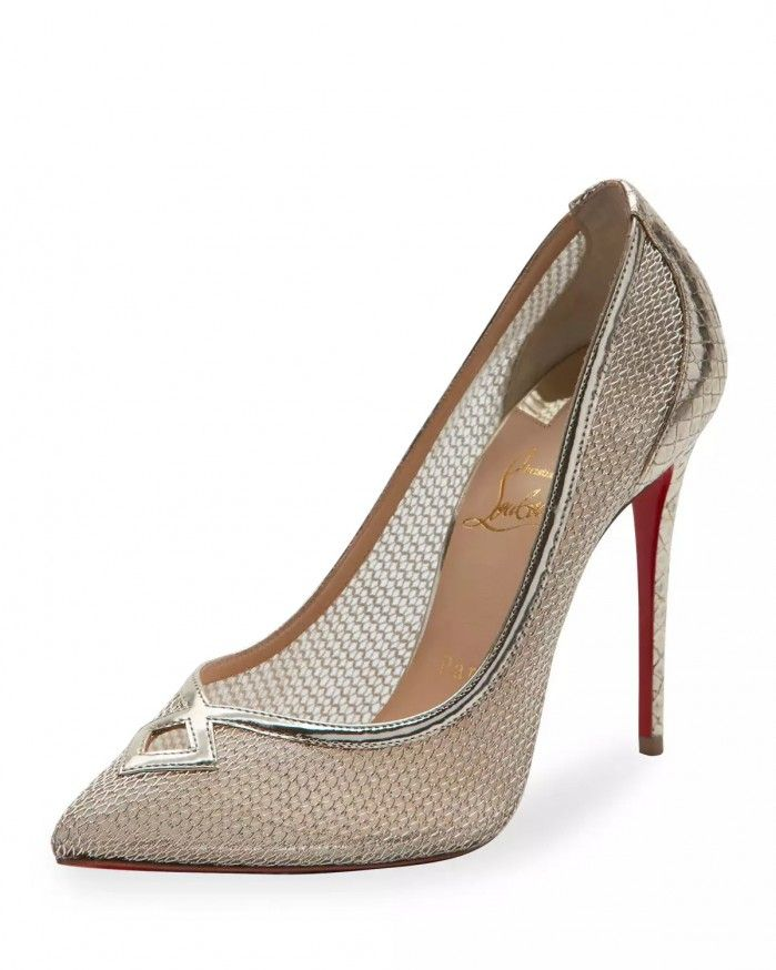 the best attitude 05c7d 9391f Christian Louboutin Neoalto Mesh 100mm Red Sole Pump, Gold ...