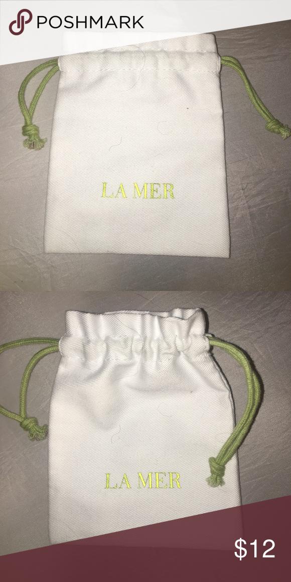 LA Mer white cotton drawstring small pouch bag Pouch bag
