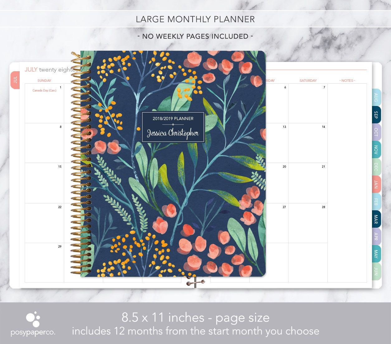2020-2016 Academic Year Calendar 8.5x11 MONTHLY PLANNER notebook | 2019 2020 no weekly view