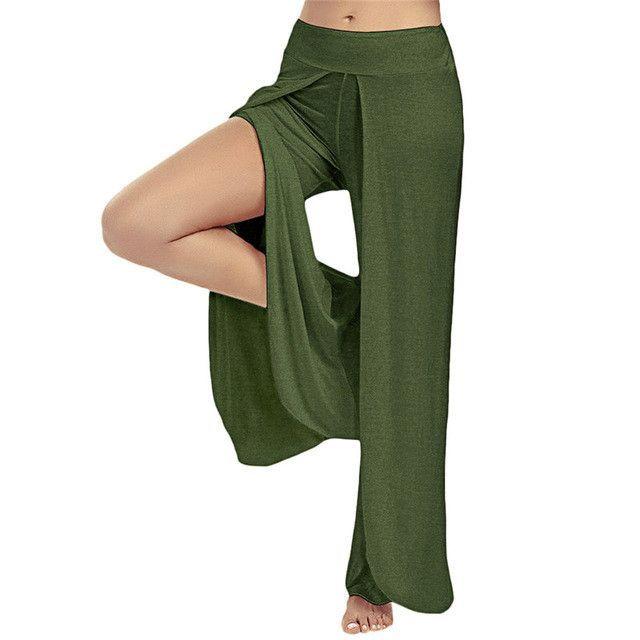 Sexy High Split Mid Waist Wide Leg Flowy Pants Women 2017 Female Trousers Casual Summer Beach Long Loose Harem Pants