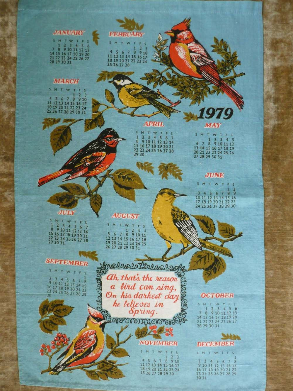 Lovely Blue Vintage 1979 Calendar Tea Kitchen Towel With Birds And