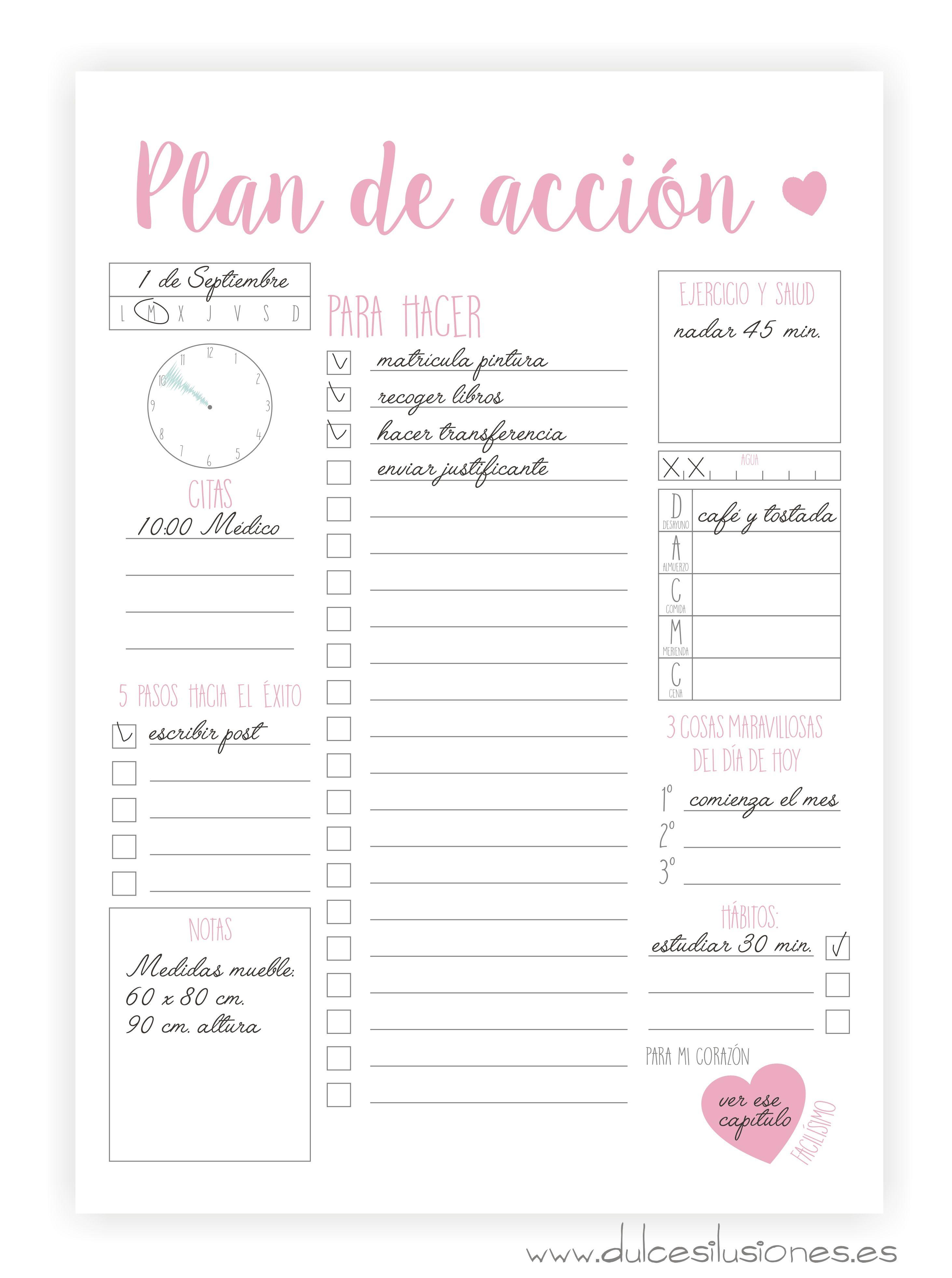 Imprimibles – Agenda – Plan de acción   Repostería creativa y Tienda ...