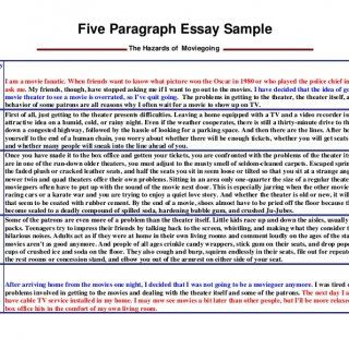 Five Paragraph Essay Sample The Hazards Of