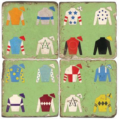 Small Jockey Jackets Hand Made Marble Coasters Marble