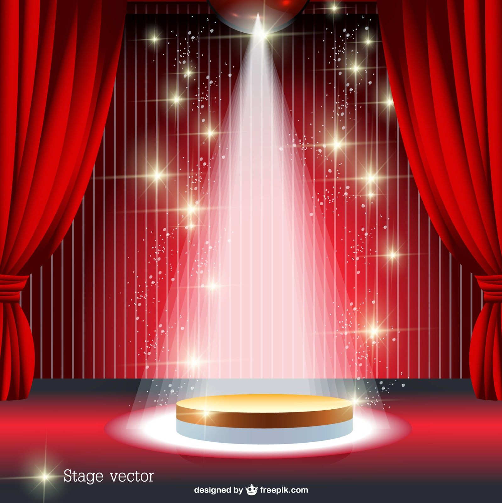 Stage curtains spotlight - Cortina Vermelha Spotlight Vetor Stage Curtainsred