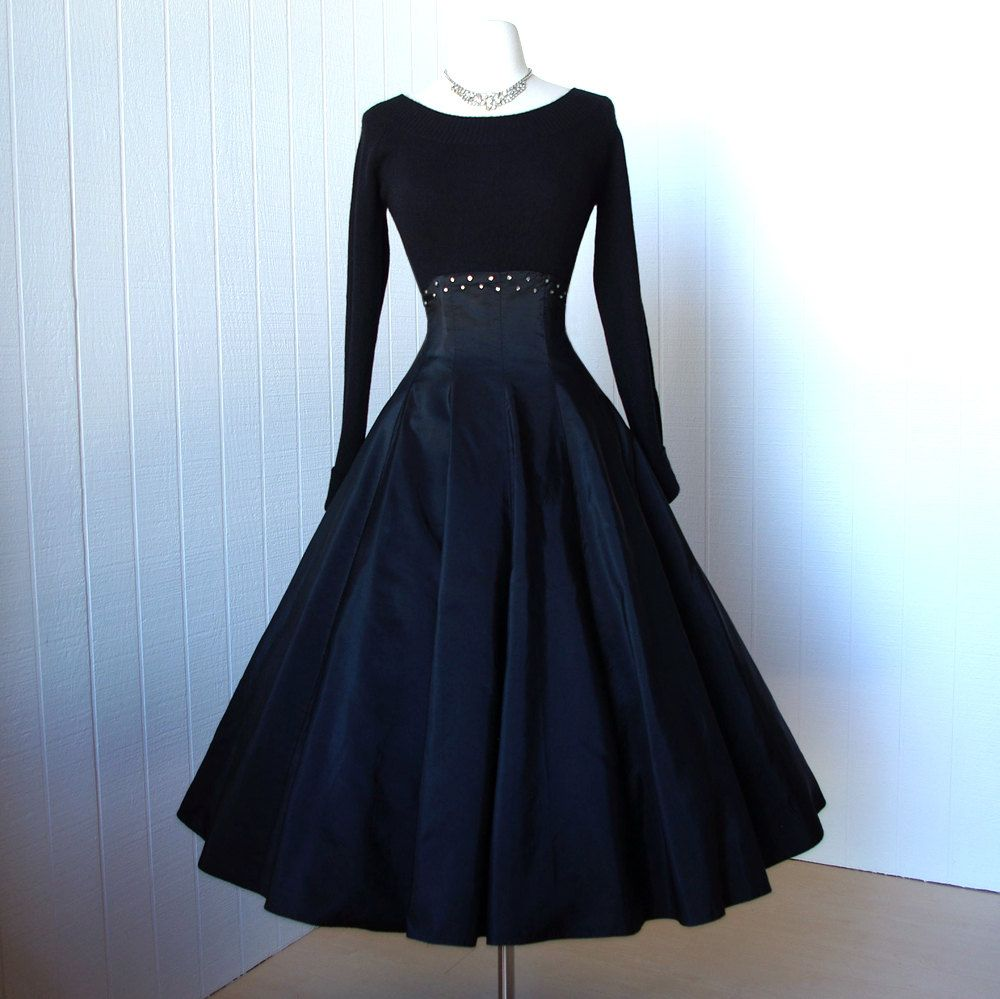 vintage 1950's skirt  ...fabulous black HIGH WAIST CORSET full circle pin-up dress skirt with stays and rhinestones