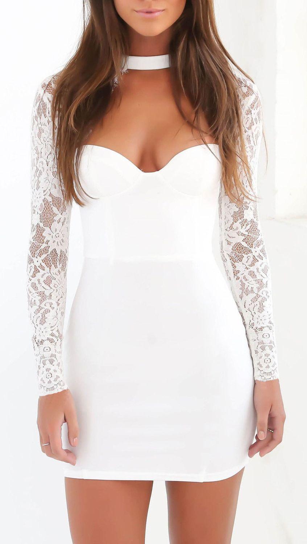 Mini abito vestito corto donna sexy aderente maniche lunghe in pizzo ... 86fc596d207