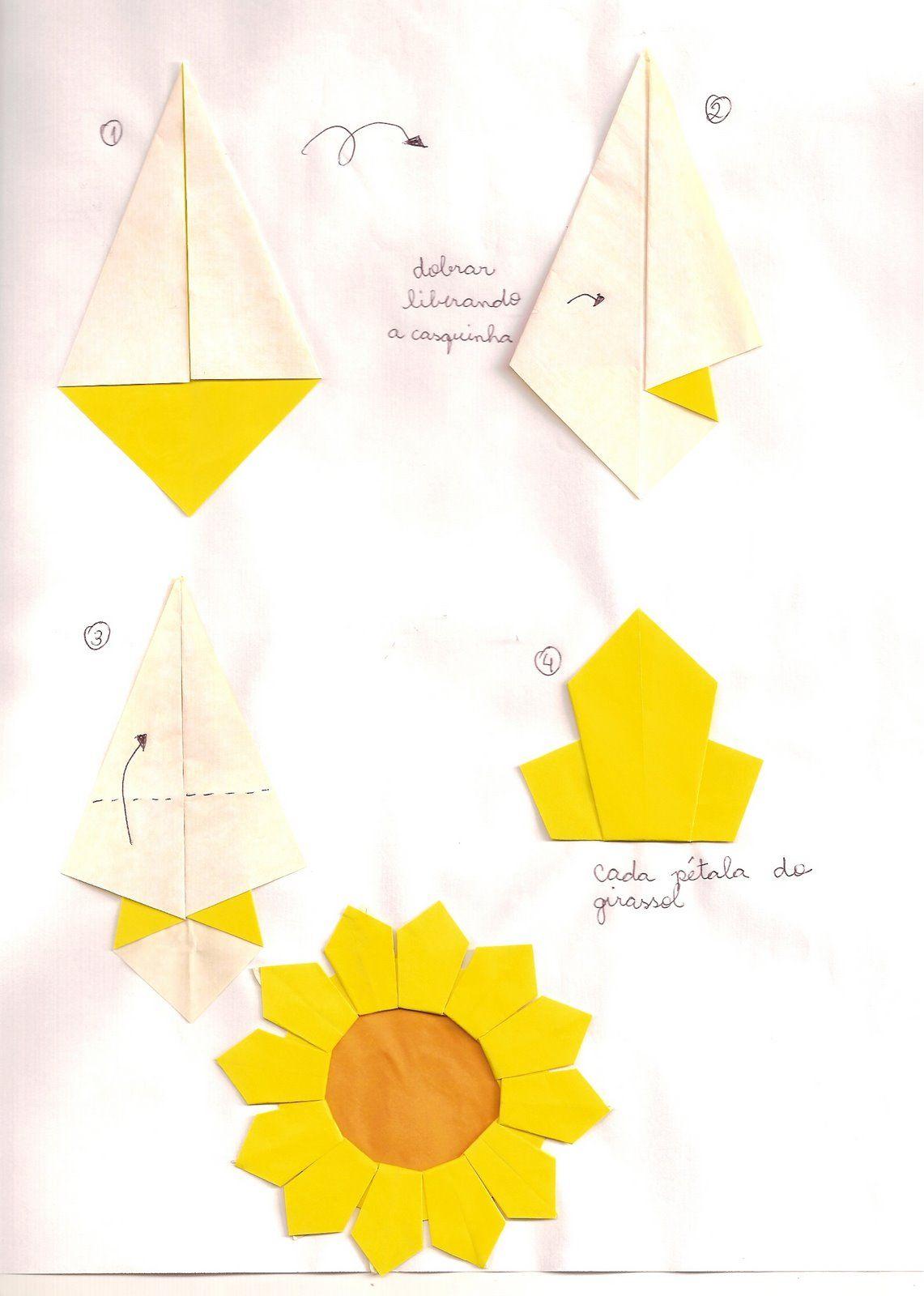 Origami em aÇÃo girassol a paper crafts pinterest origami